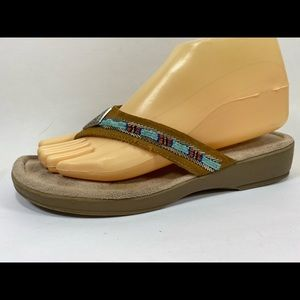 Minnetonka Suede Leather Flip Flops Sandals 8